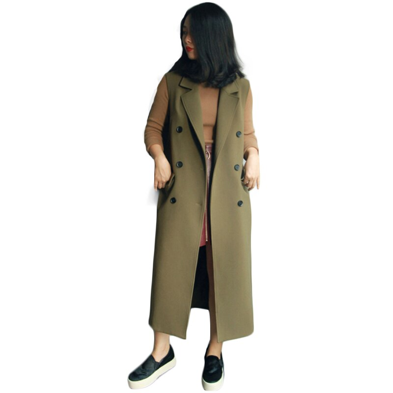 Women's Spring Autumn Sleeveless Blazer Vest Long Vest Waistcoat Female Women Outwear plus size Jacket Pocket Coat Black / Green