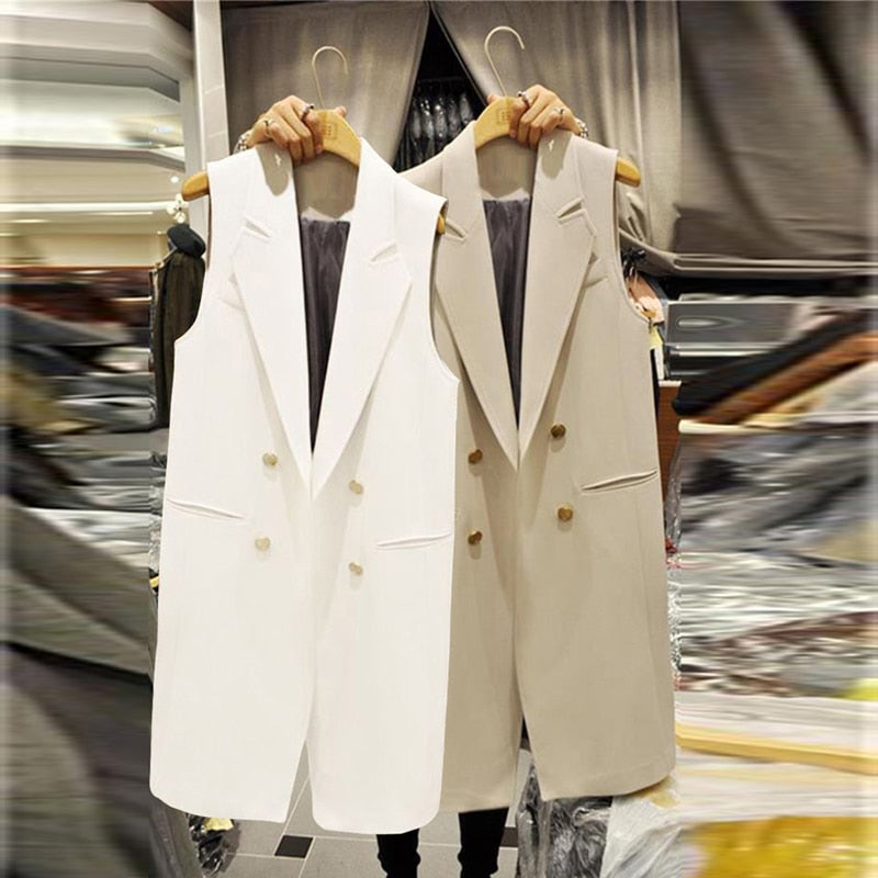 Autumn Spring Long Suit Vest Women Abrigo Mujer Elegant Office Ladies Vest Sleeveless white Black Waistcoat Jacket Pockets Coat