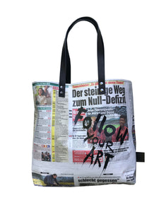 Austrian newspaper tote bag with silk screen print