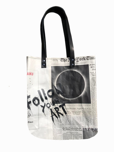The New York Times newspaper tote bag with silk screen print