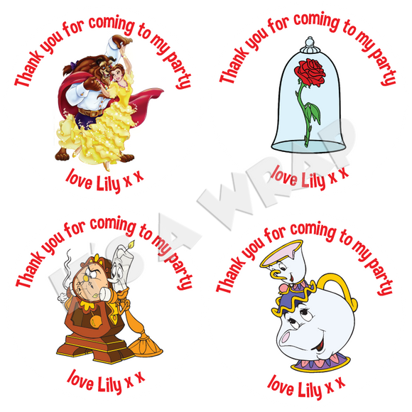 Beauty & the Beast Sweet Cone Stickers