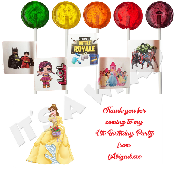 Belle Lollipop Stick Labels