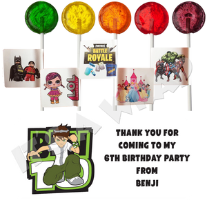 Ben 10 Lollipop Stick Labels
