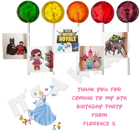 Cinderella Lollipop Stick Labels