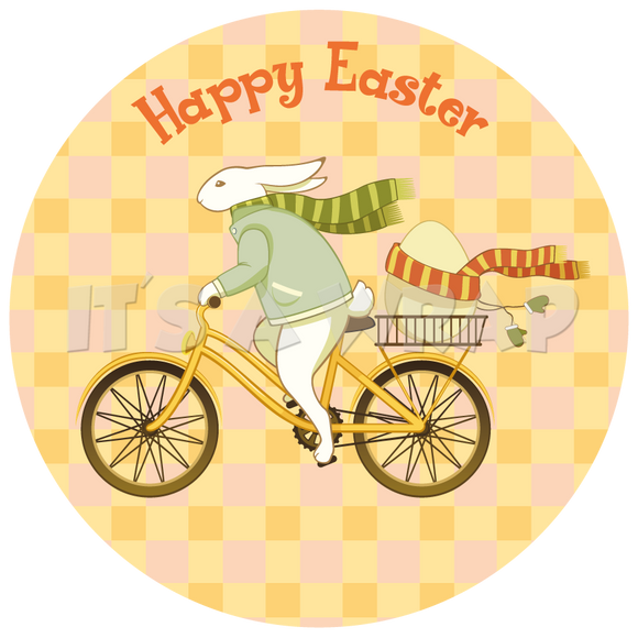 Easter Vintage Bunny on a Bike