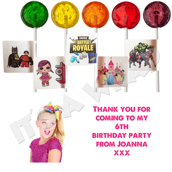 JoJo Siwa Lollipop Stick Labels