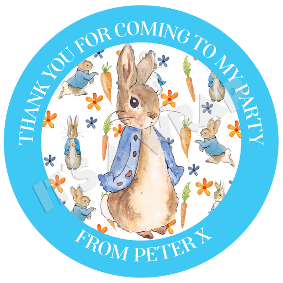 24 Personalised Peter Rabbit Birthday Party Thank You Stickers