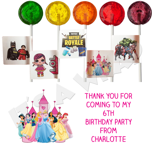 Princess Lollipop Stick Labels