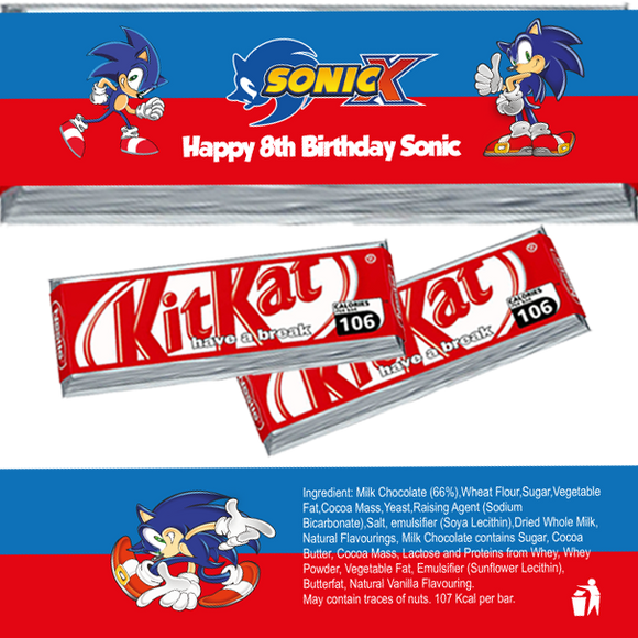 Sonic Hedgehog KitKat Wrappers