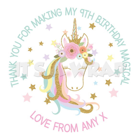 Unicorn Glitter Sweet Cone Stickers