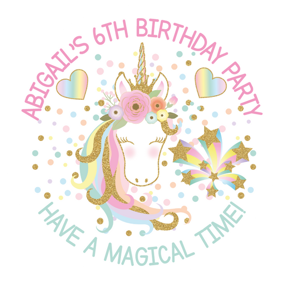 Unicorn Glitter Party Box Stickers
