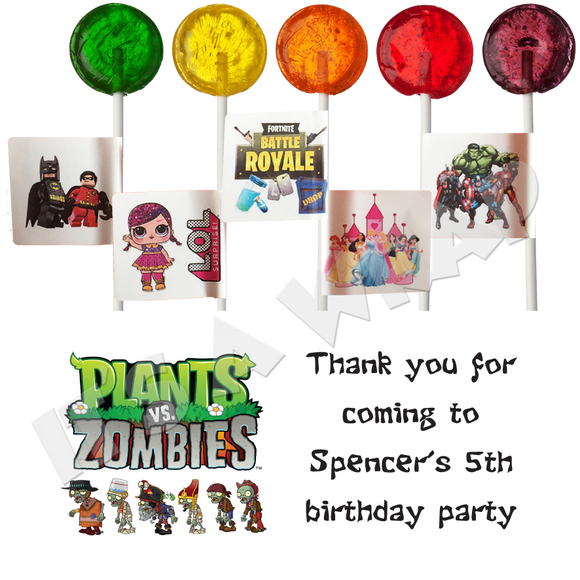 Plants V Zombies Lollipop Stick Labels