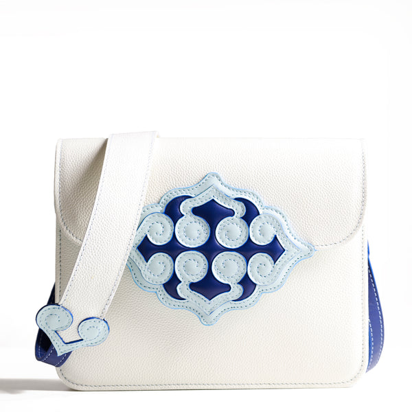 LACQ Blue/White Medium Shoulder Bag Made to Order