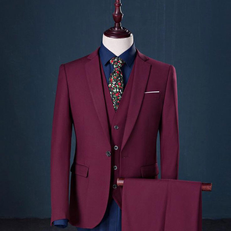 The Merlot: Crisp Burgundy Suit