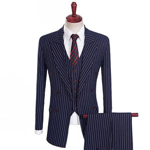 The Blaise: Navy Blue Pinstripe Suit