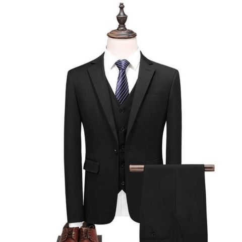 The Noire: Jet Black Silk Suit