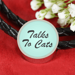 Talks To Cats - Woven Leather Charm Bracelet Talks To Cats - Woven Leather Charm Bracelet Woven Leather Bracelet & Charm ShineOn Fulfillment The Purr House- The Purr House