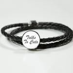 Talks To Cats - Handmade Leather Charm Bracelet Talks To Cats - Handmade Leather Charm Bracelet Woven Leather Bracelet & Charm ShineOn Fulfillment The Purr House- The Purr House