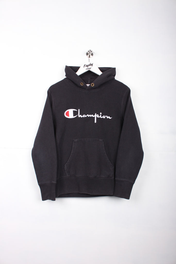 Champion Reverse Weave Hoodie Black Small - Payday Vintage