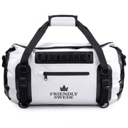 white waterproof duffel bag front