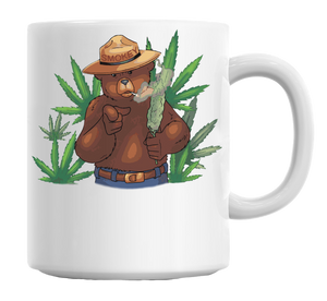 Smokey Bear Smoking Dope Mug