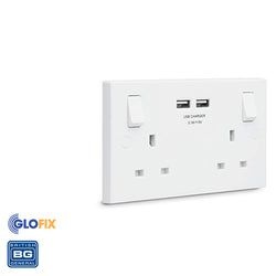 BG Electrical 2 Gang with 2 USB Socket Switch