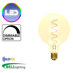 BELL Lighting 4W LED Vintage Soft Coil Vertical Filament Large Globe (Edison Screw) - Glo Fix