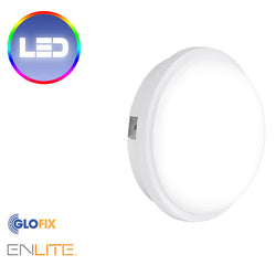 Enlite 240V 15W IP65 Polycarbonate Round LED Bulkhead White 4000K