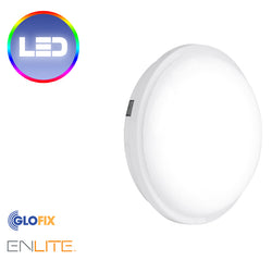 Enlite 240V 30W IP65 Polycarbonate Round LED Bulkhead White 4000K