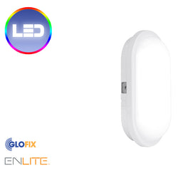 Enlite 240V 15W IP65 Polycarbonate Oval LED Bulkhead White 4000K