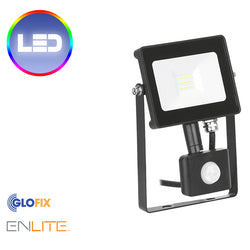Enlite 50W PIR Adjustable IP65 Driverless LED Floodlight Black 4000K