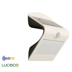 Luceco Solar 1.5W 180lm Guardian 4000K Wall Light With PIR In Black And White