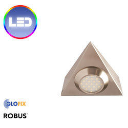 LED Cabinet Lights | Robus Prism 2W LED Triangular IP20 available in Brushed Chrome