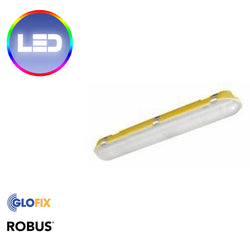 Robus Sultan 2x12W 2ft LED Corrosion Proof IP65 Emergency Fitting 110V Yellow Base 5000K c/w Frosted Diffuser - Glo Fix