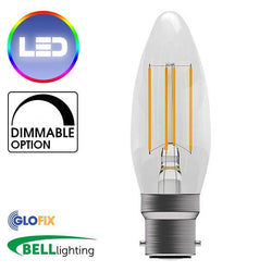 BayonetCap(B22)22mm - BELL Lighting 4W LED Filament Clear Candle 470 Lumens (Bayonet Cap) Replaces 40W