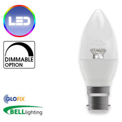 BayonetCap(B22)22mm - BELL Lighting 7W LED Dimmable Candle Clear 500 Lumens (Bayonet Cap) Replaces 40W