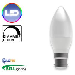BELL Lighting 7W LED Dimmable Candle Opal 500 Lumens (Bayonet Cap) Replaces 40W - Glo Fix
