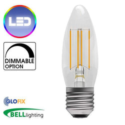 EdisonScrewCap - BELL Lighting 4W LED Filament Clear Candle 470 Lumens (Edison Screw Cap) Replaces 40W