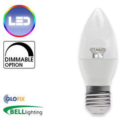 EdisonScrewCap - BELL Lighting 7W LED Dimmable Candle Clear 500 Lumens (Edison Screw Cap) Replaces 40W