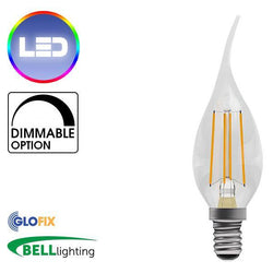 Small Edison Screw Cap (E14) 14mm - BELL Lighting 4W LED Filament Bent Tip Clear Candle 470 Lumens (Small Edison Screw) Replaces 40W