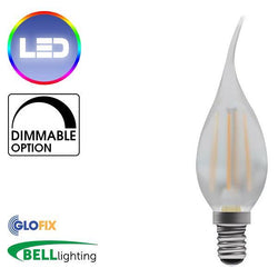 Small Edison Screw Cap (E14) 14mm - BELL Lighting 4W LED Filament Bent Tip Satin Candle 470 Lumens (Small Edison Screw) Replaces 40W