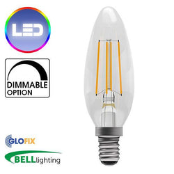 Small Edison Screw Cap (E14) 14mm - BELL Lighting 4W LED Filament Clear Candle 470 Lumens (Small Edison Screw) Replaces 40W