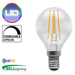 Small Edison Screw Cap (E14) 14mm - BELL Lighting 4W LED Filament Clear Round 470 Lumens (Small Edison Screw) Replaces 40W