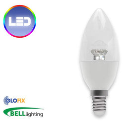 Small Edison Screw Cap (E14) 14mm - BELL Lighting 7W LED Candle Clear 500 Lumens (Small Edison Screw) Replaces 40W