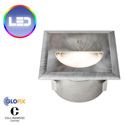 Garden Lighting | Corridor lighting - Collingwood WL342 2.6W LED IP67 Square Straight To Mains Step Light (Brush Finish)