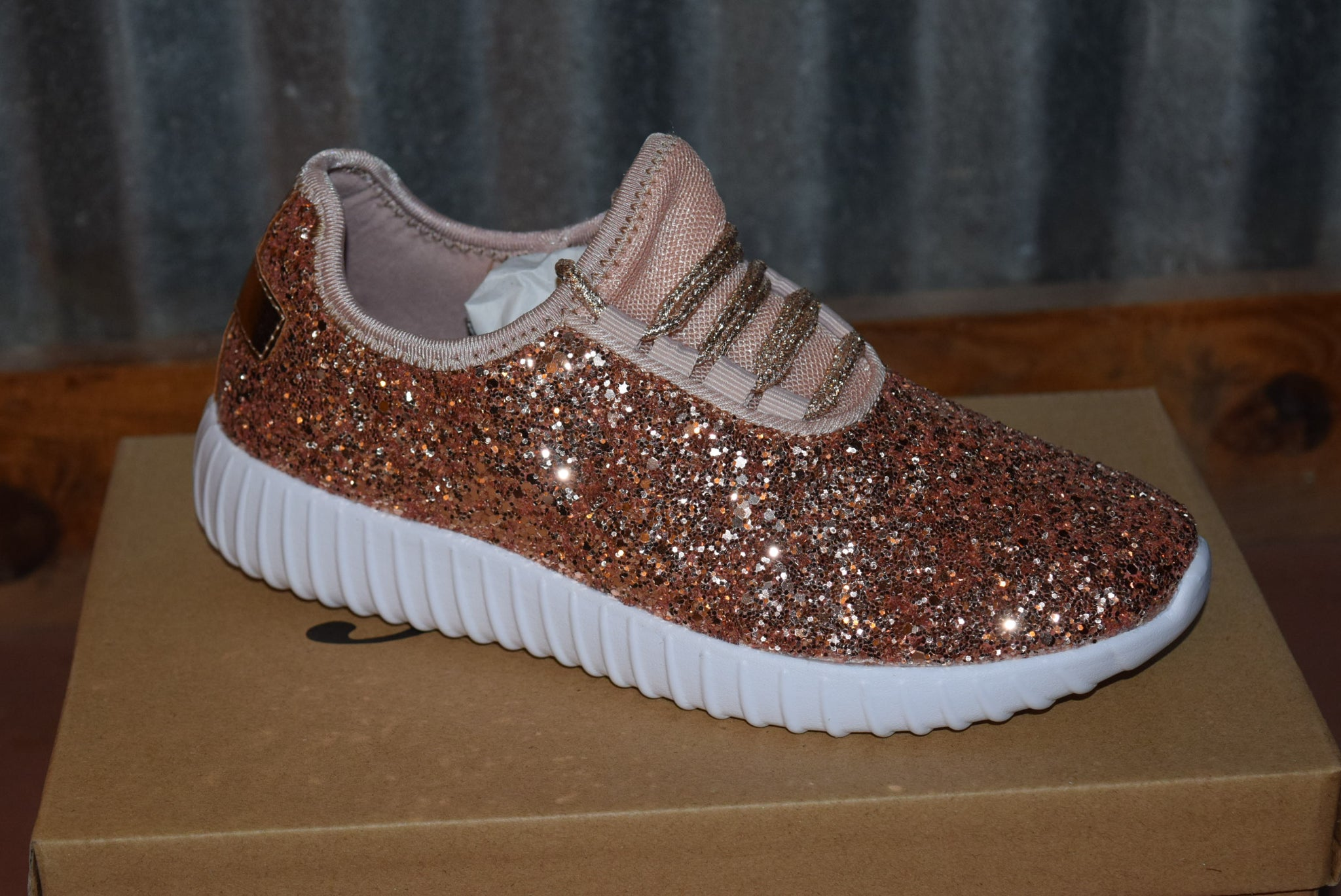 5058e724f11 Glitter Bomb Tennis Shoes - Rose Gold – Dixie Outlaw Boutique