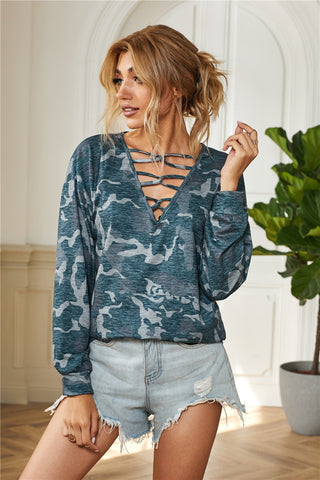 Hollow-out V Neck Camouflage Blouse