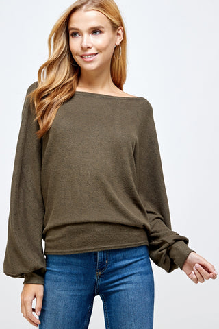 Brushed Hacci Boatneck Sweater