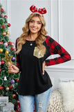 Sequined Plaid Raglan Black Top