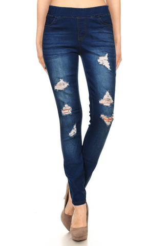 Distressed Denim Jegging